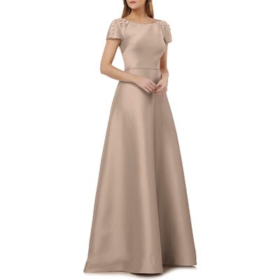 Kay Unger Embellished Sleeve Stretch Mikado Gown, Beige
