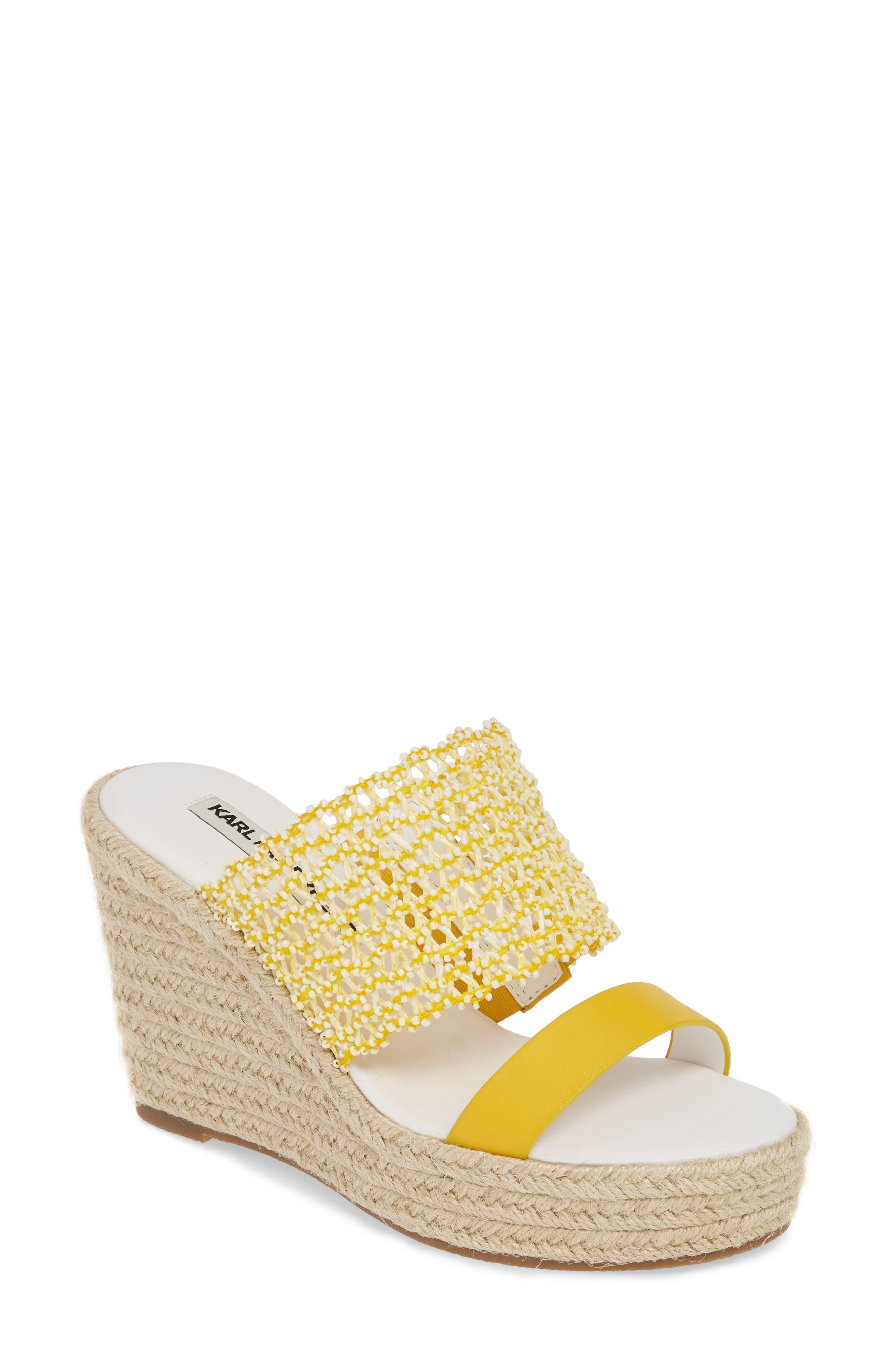 Karl Lagerfeld Paris Celie Espadrille Wedge Slide Sandal, Yellow
