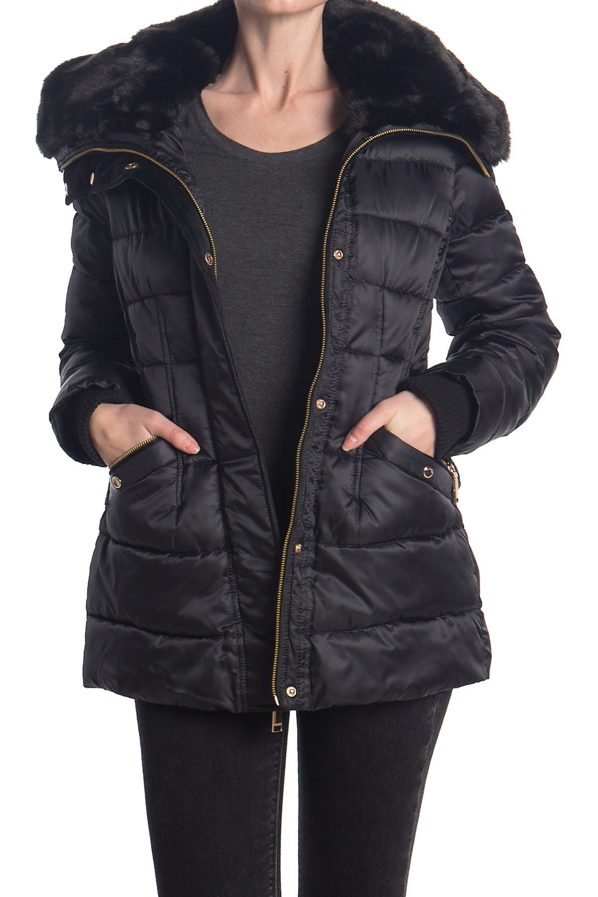 Nine West Faux Fur Trim Hood Quilted Puffer Jacket