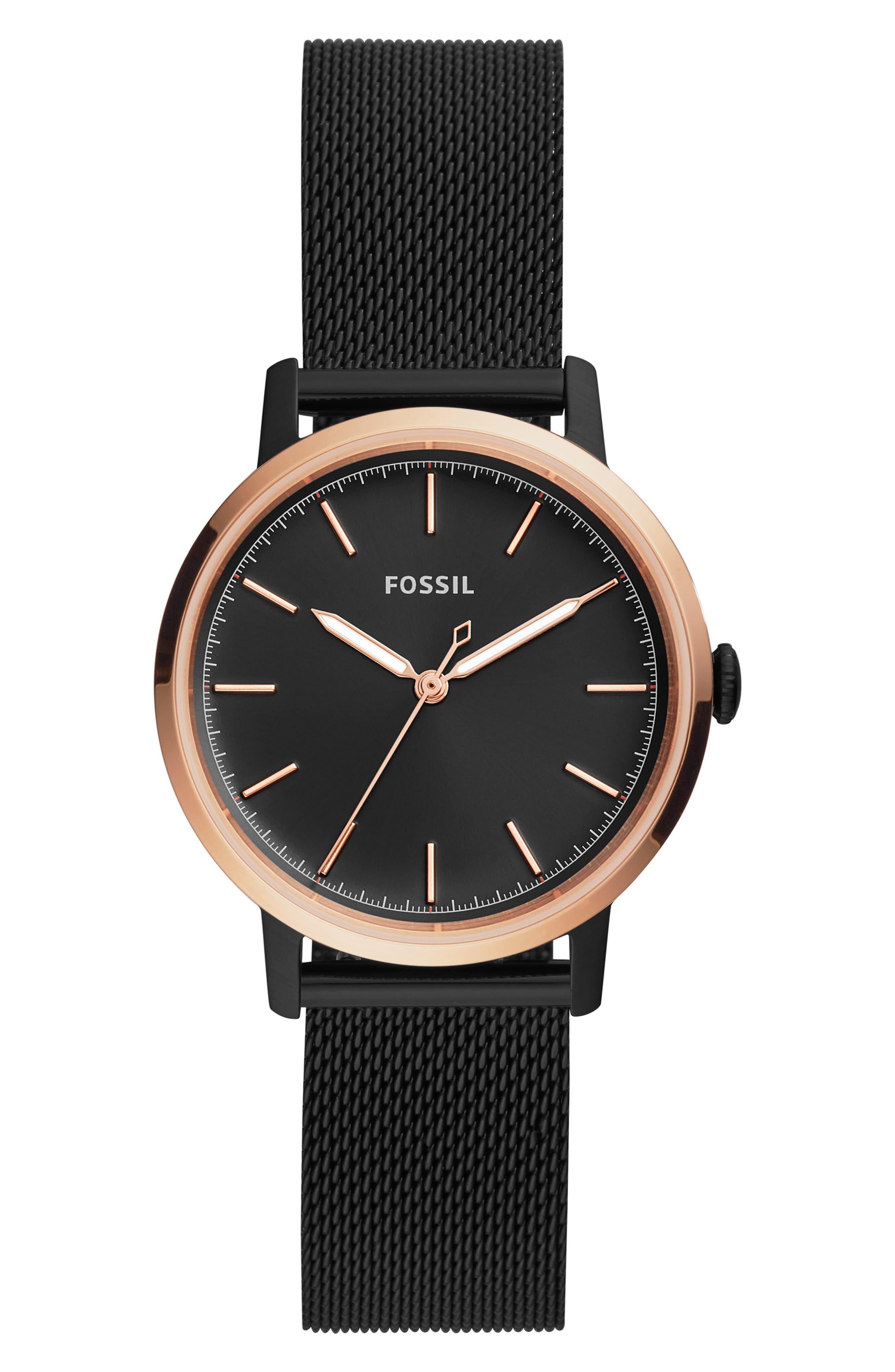 Neely Mesh Strap Watch, 34mm, Main, color, BLACK/ ROSE GOLD
