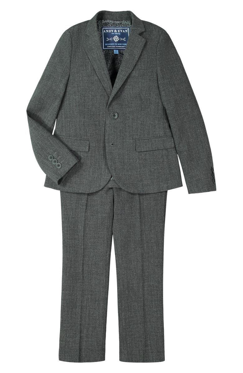 ANDY & EVAN Solid Stretch Two-Piece Suit, Main, color, GREY