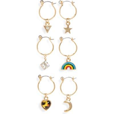 Bp. Set Of 6 Mismatched Charm Hoop Earrings