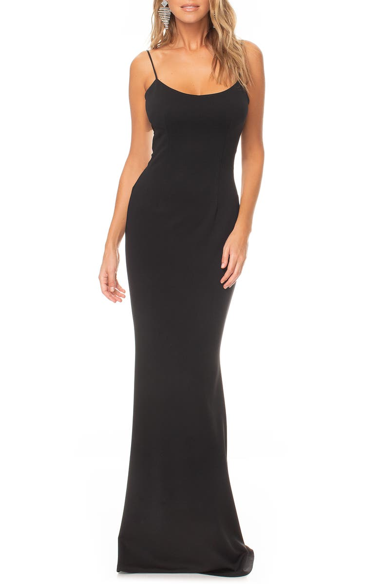 KATIE MAY Forget Me Knot Cutout Gown, Main, color, BLACK