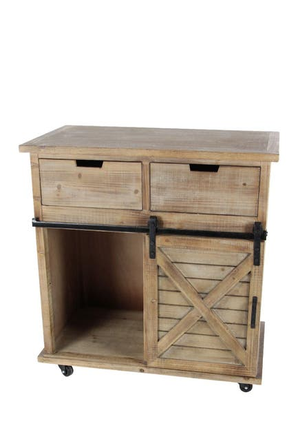 Image of Willow Row Rustic Fir Wood & Iron Storage Cabinet