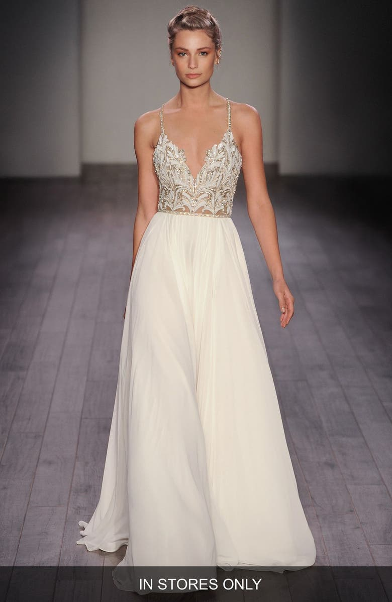 HAYLEY PAIGE Teresa T-Strap Back Embellished Chiffon A-Line Gown, Main, color, IVORY NUDE