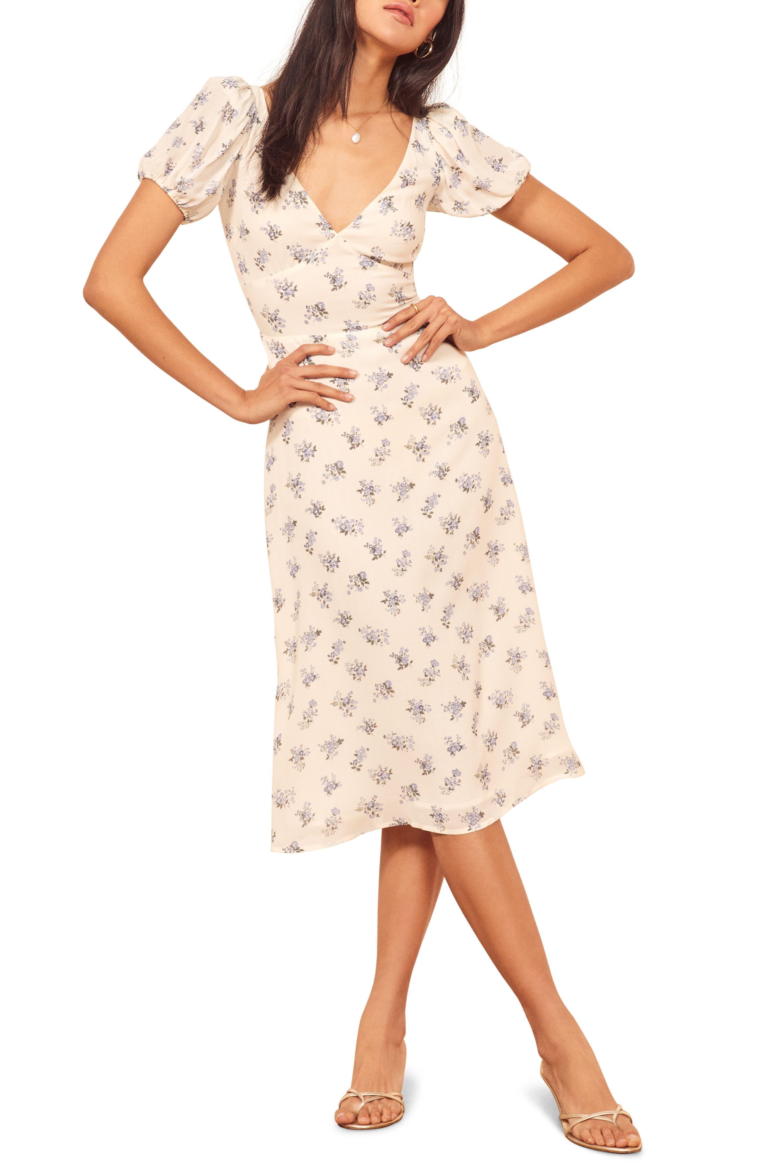 Reformation Kacey Print Puff Sleeve Midi Dress, White