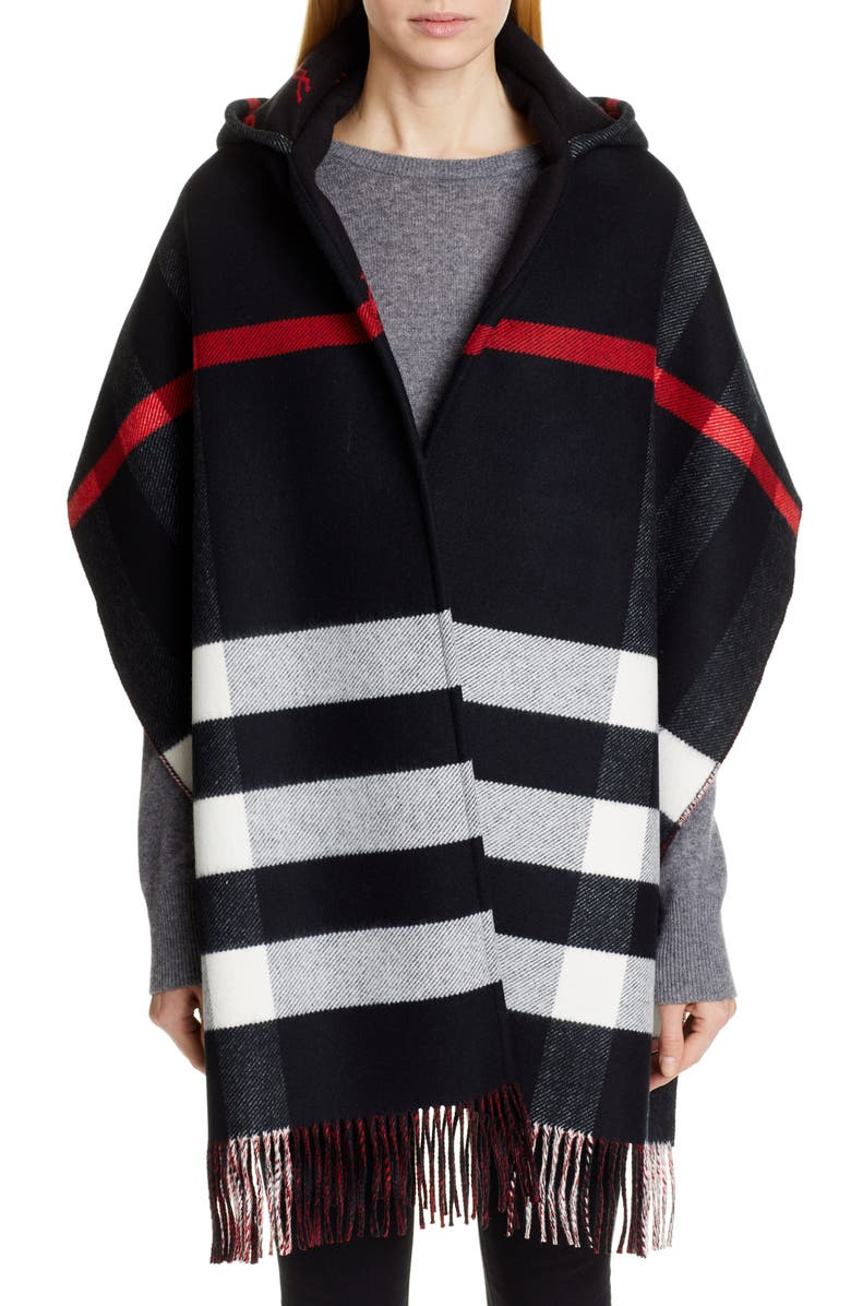 BURBERRY Helene Check Wool & Cashmere Hooded Wrap, Main, color, 001