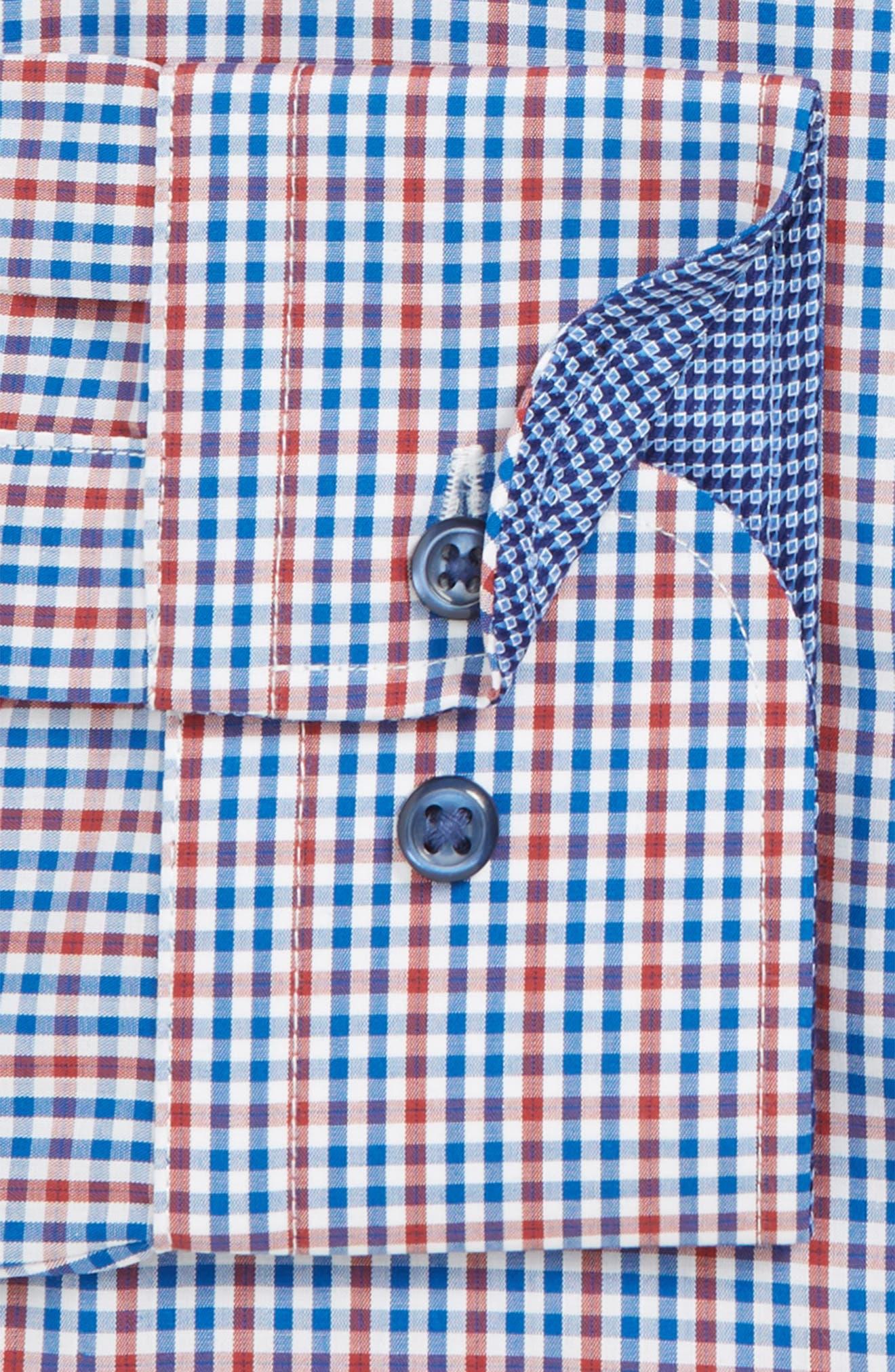 ,                             Trim Fit Non-Iron Check Dress Shirt,                             Alternate thumbnail 2, color,                             RED RUMBA
