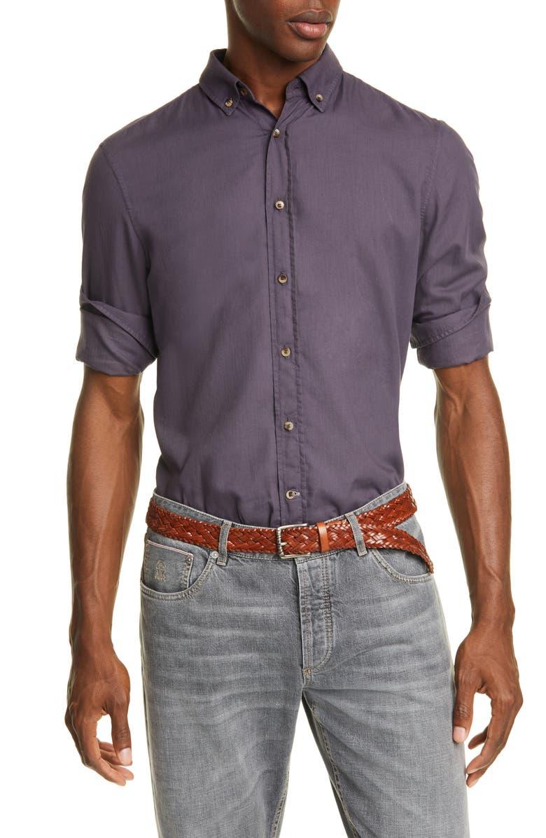 BRUNELLO CUCINELLI Leisure Fit Solid Button-Down Sport Shirt, Main, color, PURPLE