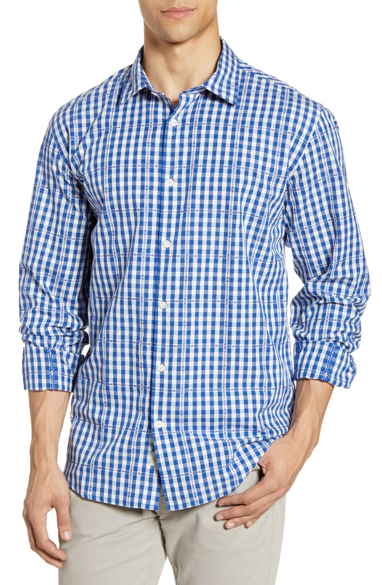 COASTAORO Ranchero Regular Fit Gingham Button-Up Shirt, Main, color, BLUE