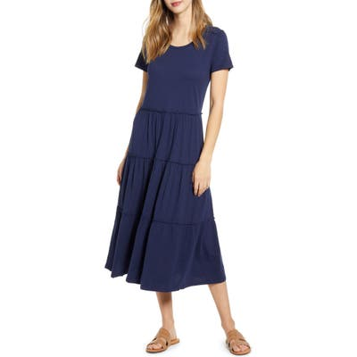 Petite Caslon Tiered Knit Short Sleeve Dress, Blue