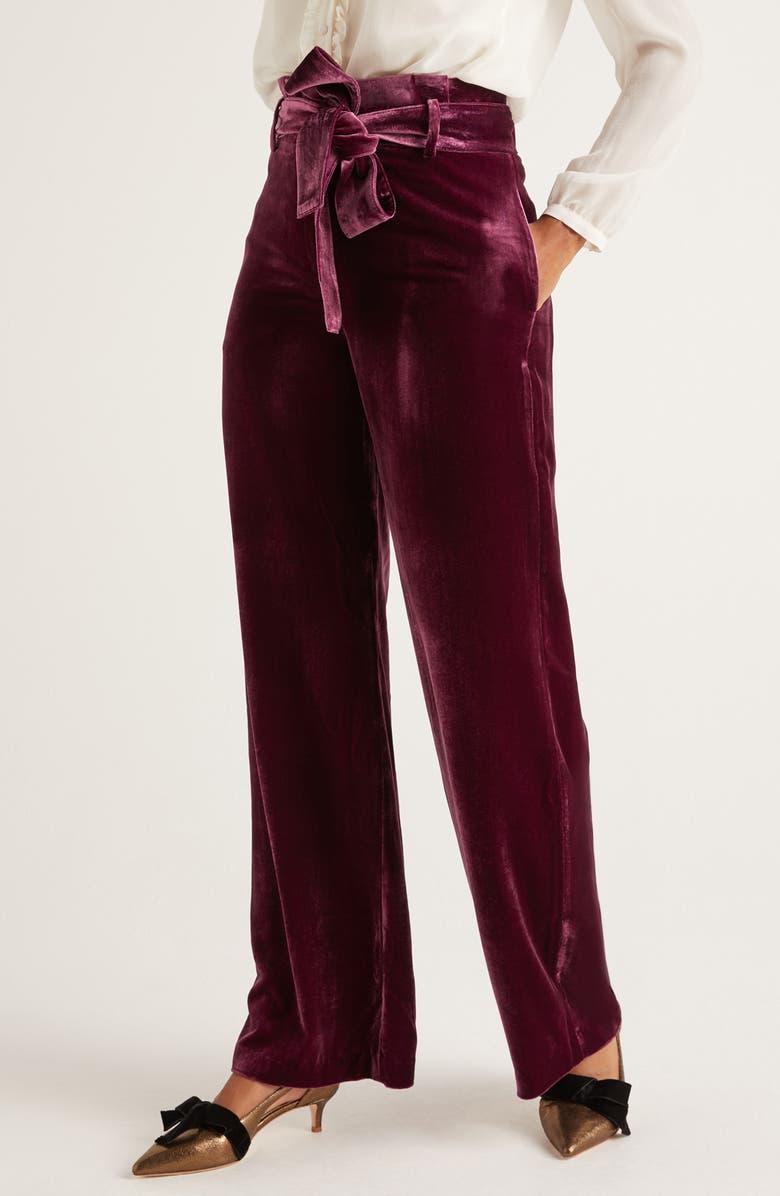 BODEN Haverhill Velvet Pants, Main, color, BEETROOT
