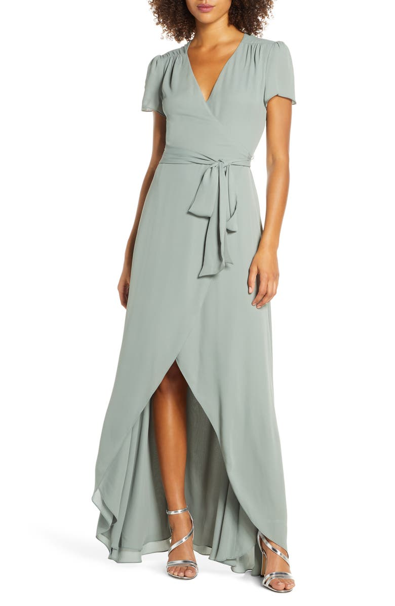WAYF The Zoey Short Sleeve Wrap Gown, Main, color, MOSS