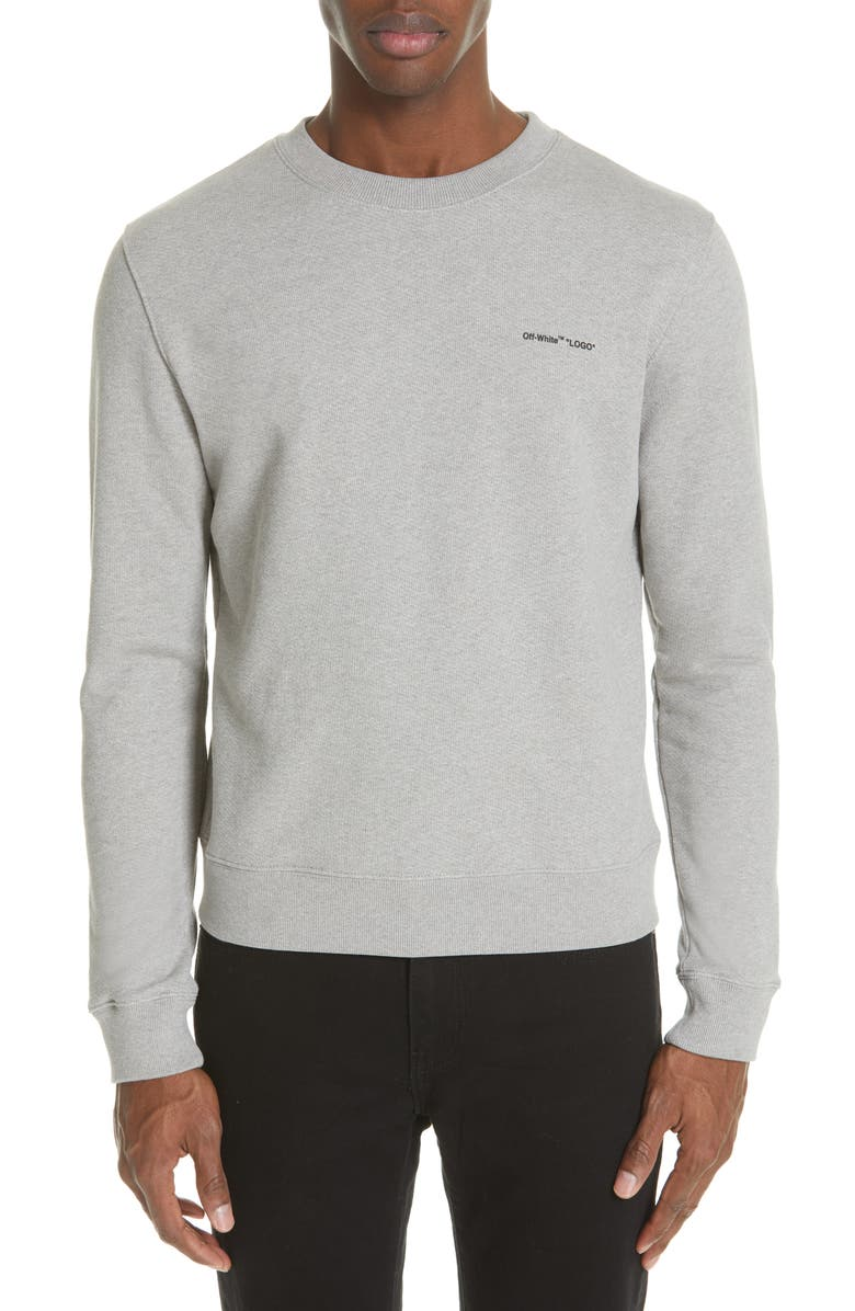 OFF-WHITE Slim Fit Logo Sweatshirt, Main, color, MELANGE GREY