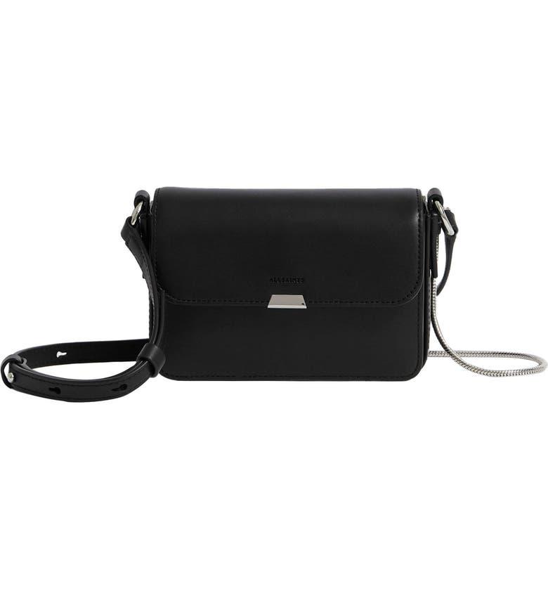 ALLSAINTS Mini Captain Leather Crossbody Bag, Main, color, BLACK