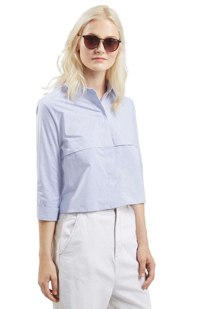 TOPSHOP Stripe Crop Shirt, Main, color, 450