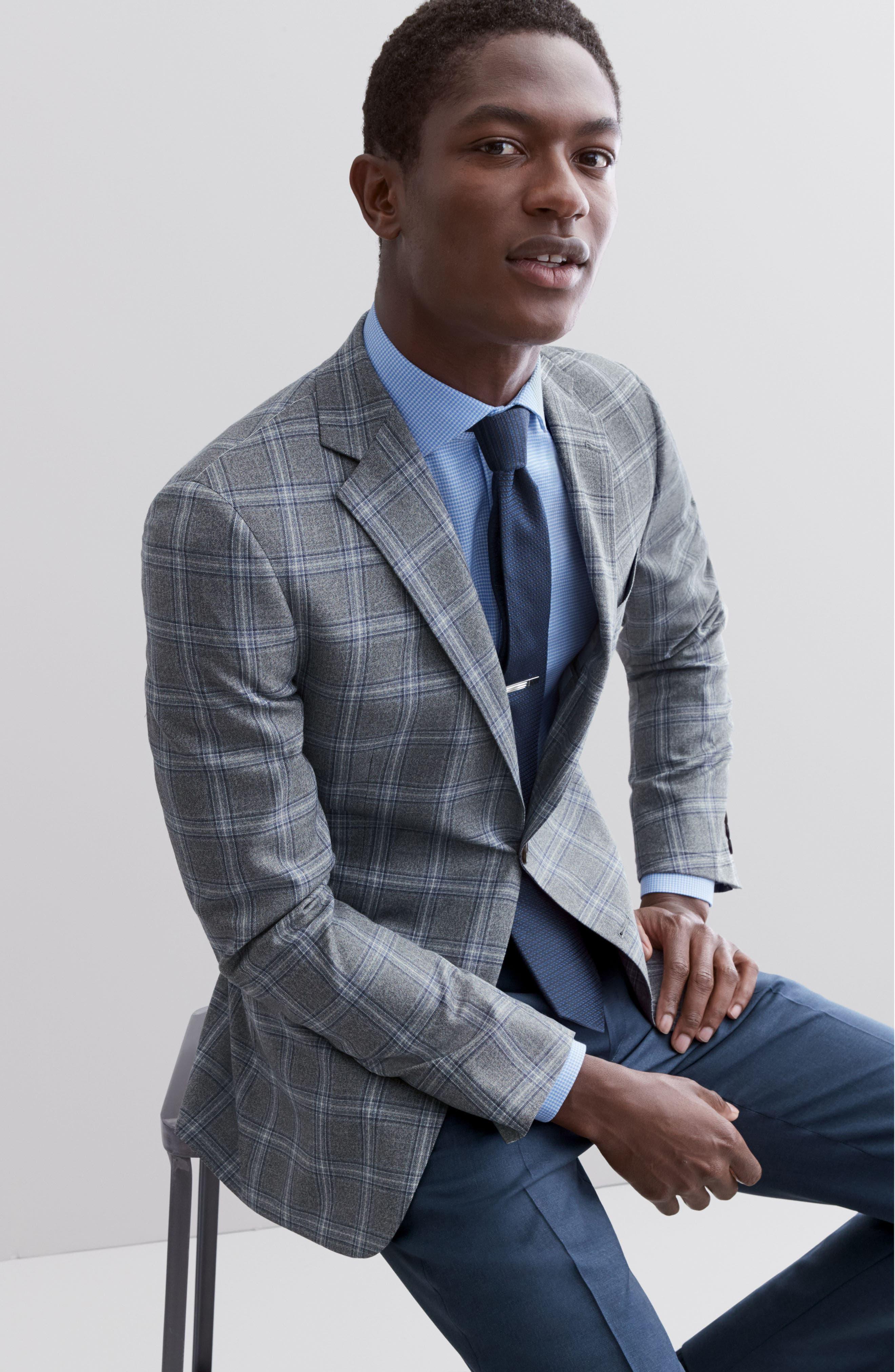 ,                             Tech-Smart Trim Fit Stretch Texture Dress Shirt,                             Alternate thumbnail 8, color,                             BLUE HYDRANGEA