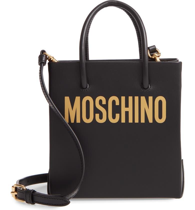 MOSCHINO Mini Logo Shopper Tote, Main, color, FANTASY PRINT BLACK