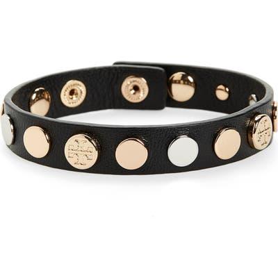 Tory Burch Logo Studded Single Wrap Bracelet