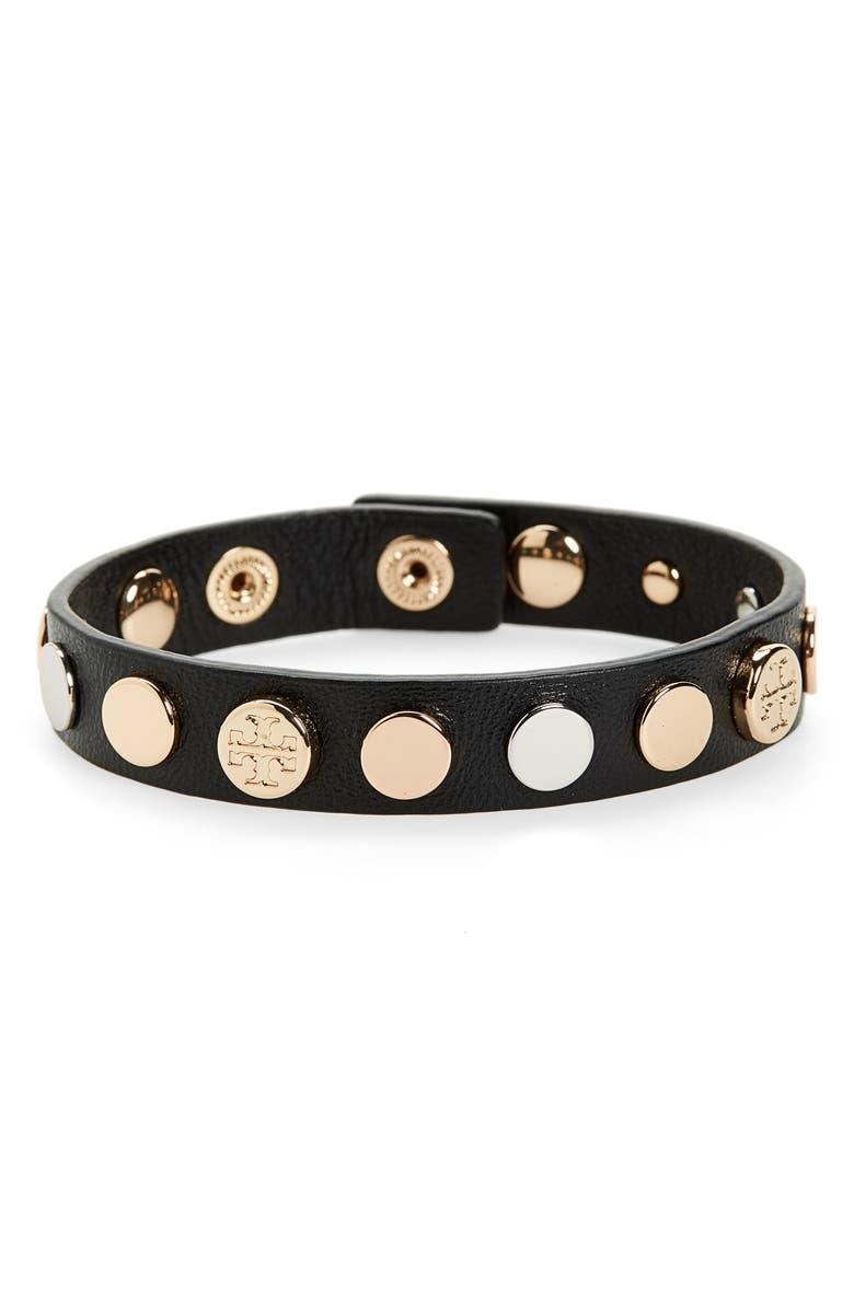 TORY BURCH Logo Studded Single Wrap Bracelet, Main, color, BLACK/GOLD/SILVER/ ROSE GOLD