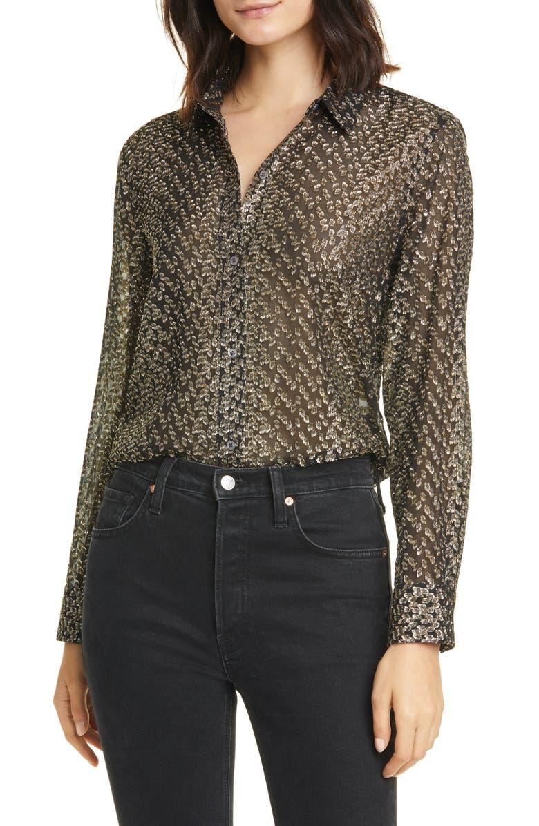EQUIPMENT Leema Metallic Silk Blouse, Main, color, BLACK GOLD