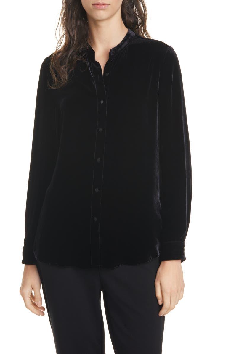 EILEEN FISHER Long Velvet Shirt, Main, color, BLACK