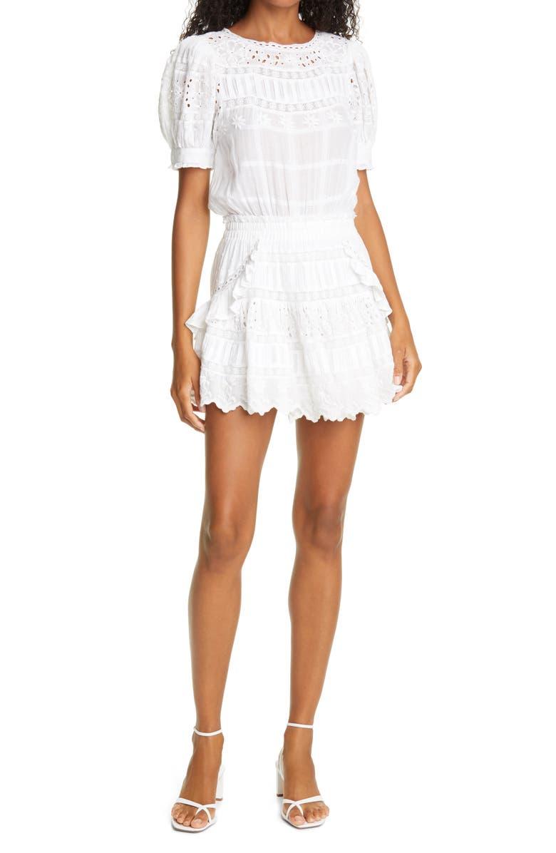 LOVESHACKFANCY Augustine Ruffle & Lace Minidress, Main, color, WHITE
