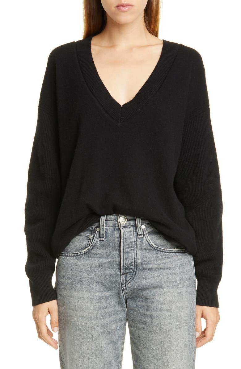 RAG & BONE Logan V-Neck Cashmere Sweater, Main, color, 001
