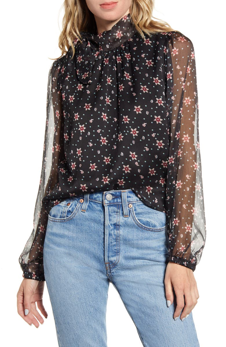 ALL IN FAVOR Floral Sheer Sleeve Blouse, Main, color, BLACK FLORAL
