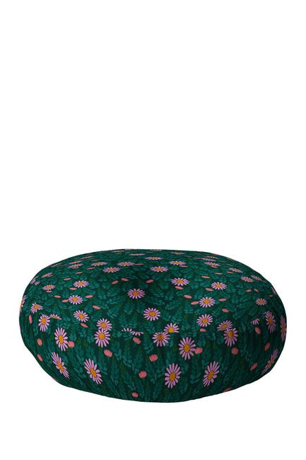 Image of Deny Designs Hello Sayang Wild Daisies Forest Green Round Floor Pillow