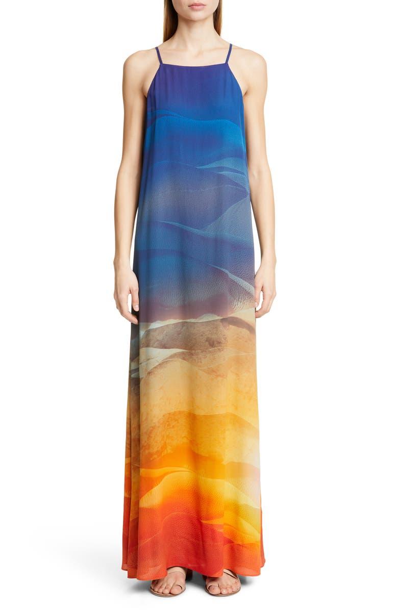 LAFAYETTE 148 NEW YORK Leonissa Print Maxi Dress, Main, color, MANDARIN MULTI