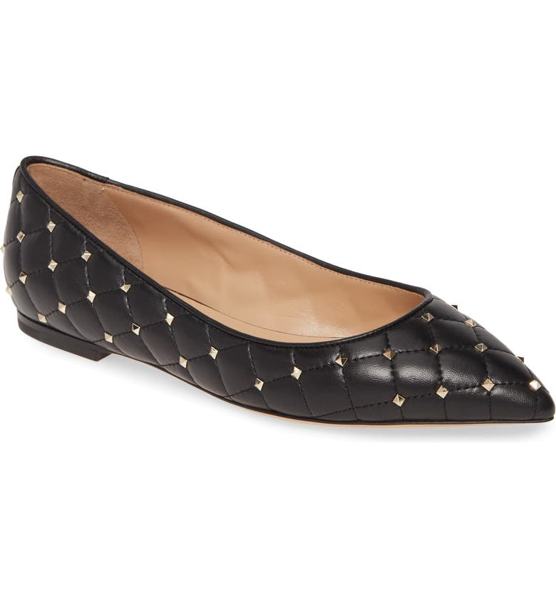 VALENTINO GARAVANI Rockstud Spike Ballerina Flat, Main, color, BLACK LEATHER