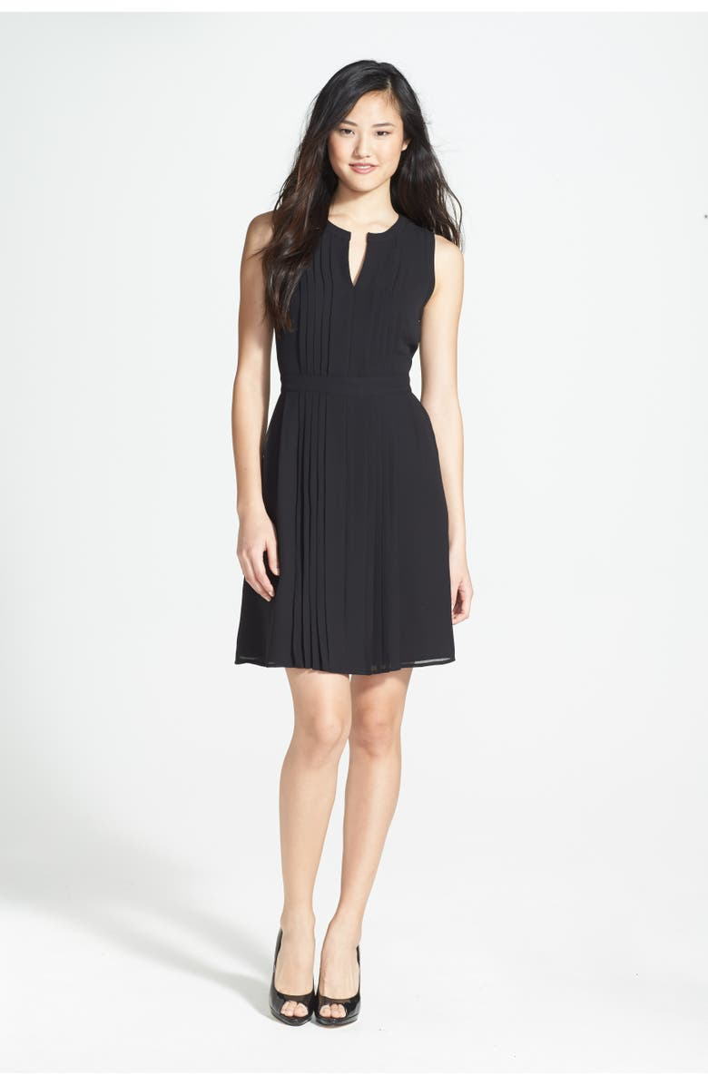 HALOGEN<SUP>®</SUP> Pleated Fit & Flare Dress, Main, color, 001