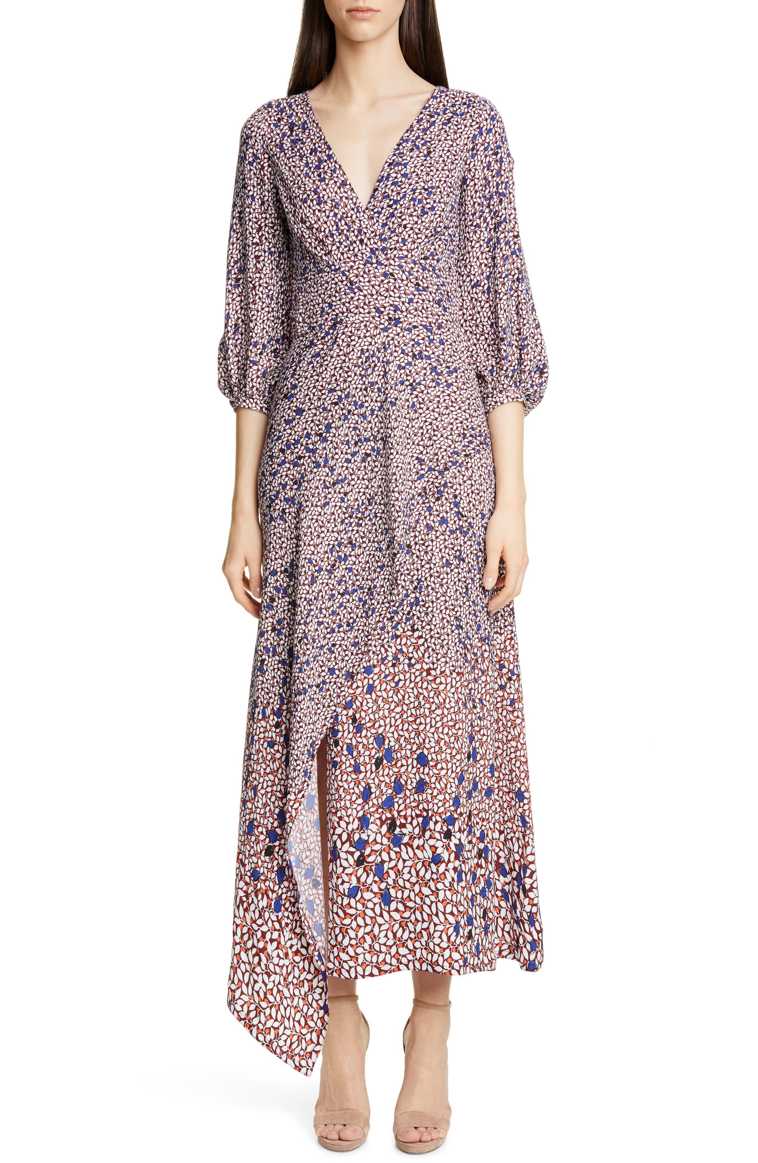 Yigal Azrouel Falling Leaf Print Twill Midi Dress, Blue