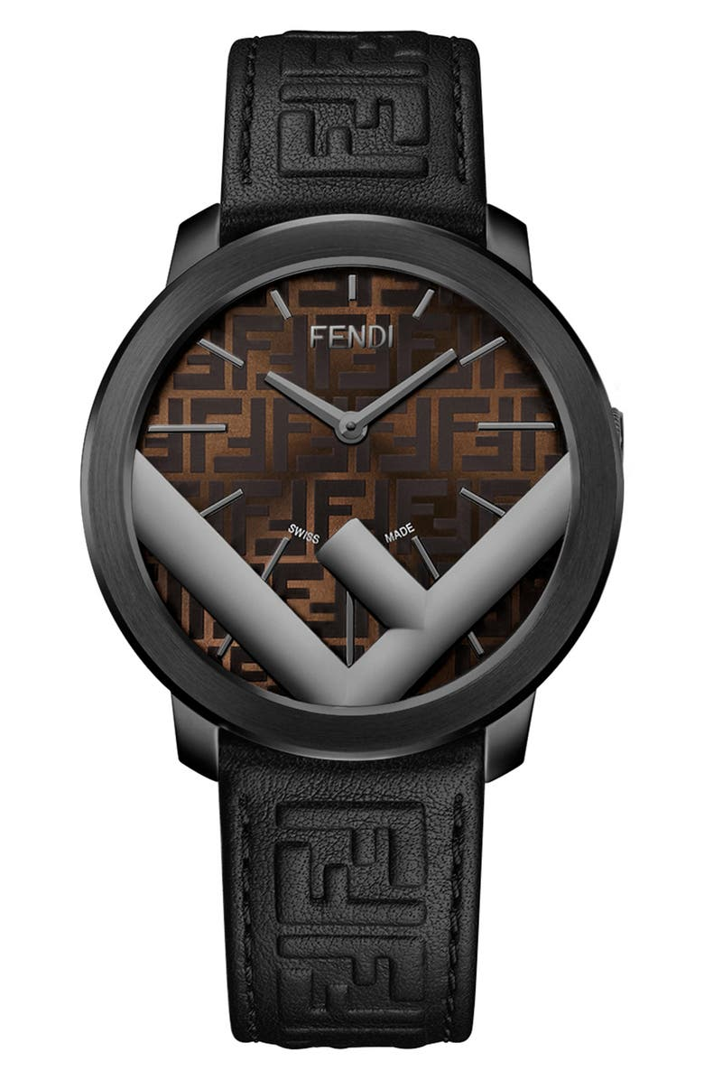 FENDI Run Away Leather Strap Watch, 41mm, Main, color, 001