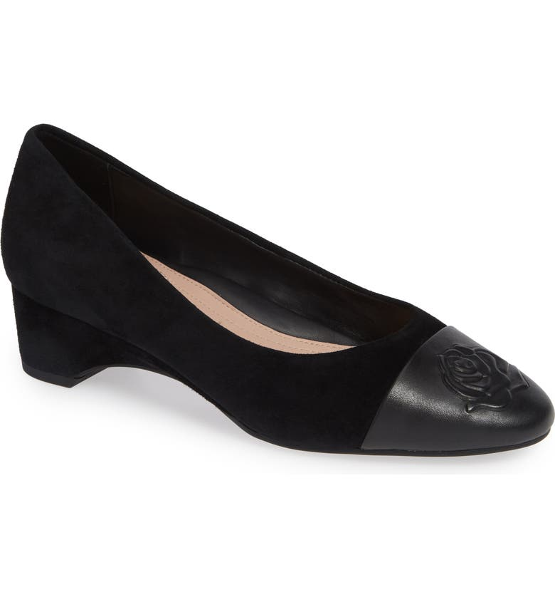 TARYN ROSE Babe Cap Toe Pump, Main, color, BLACK LEATHER