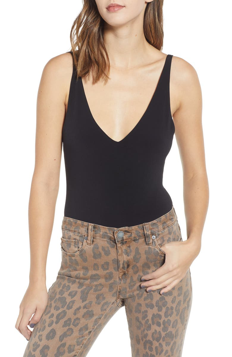 LEITH Double-V Bodysuit, Main, color, BLACK