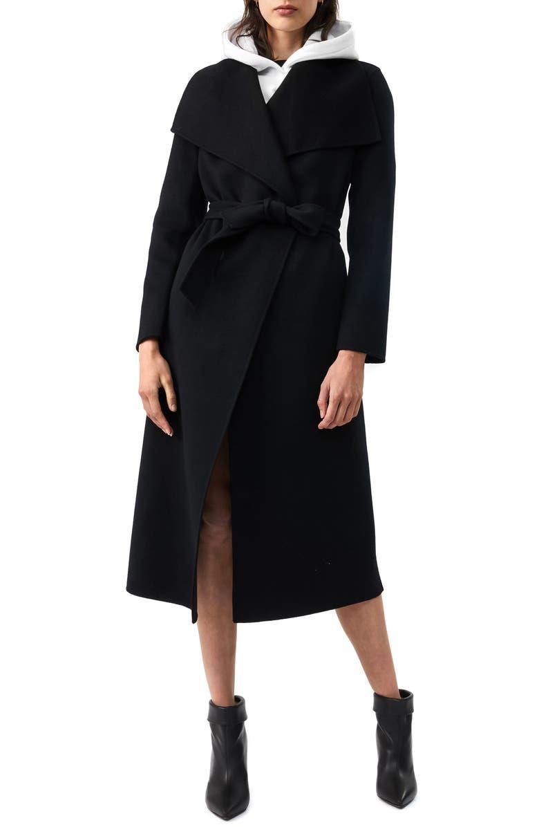 MACKAGE Mai-R Wool Wrap Coat, Main, color, BLACK