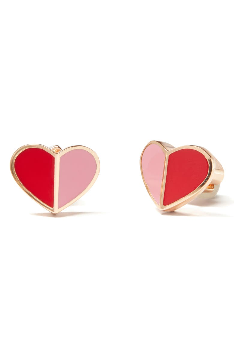 KATE SPADE NEW YORK heritage spade heart stud earrings, Main, color, PINK MULTI