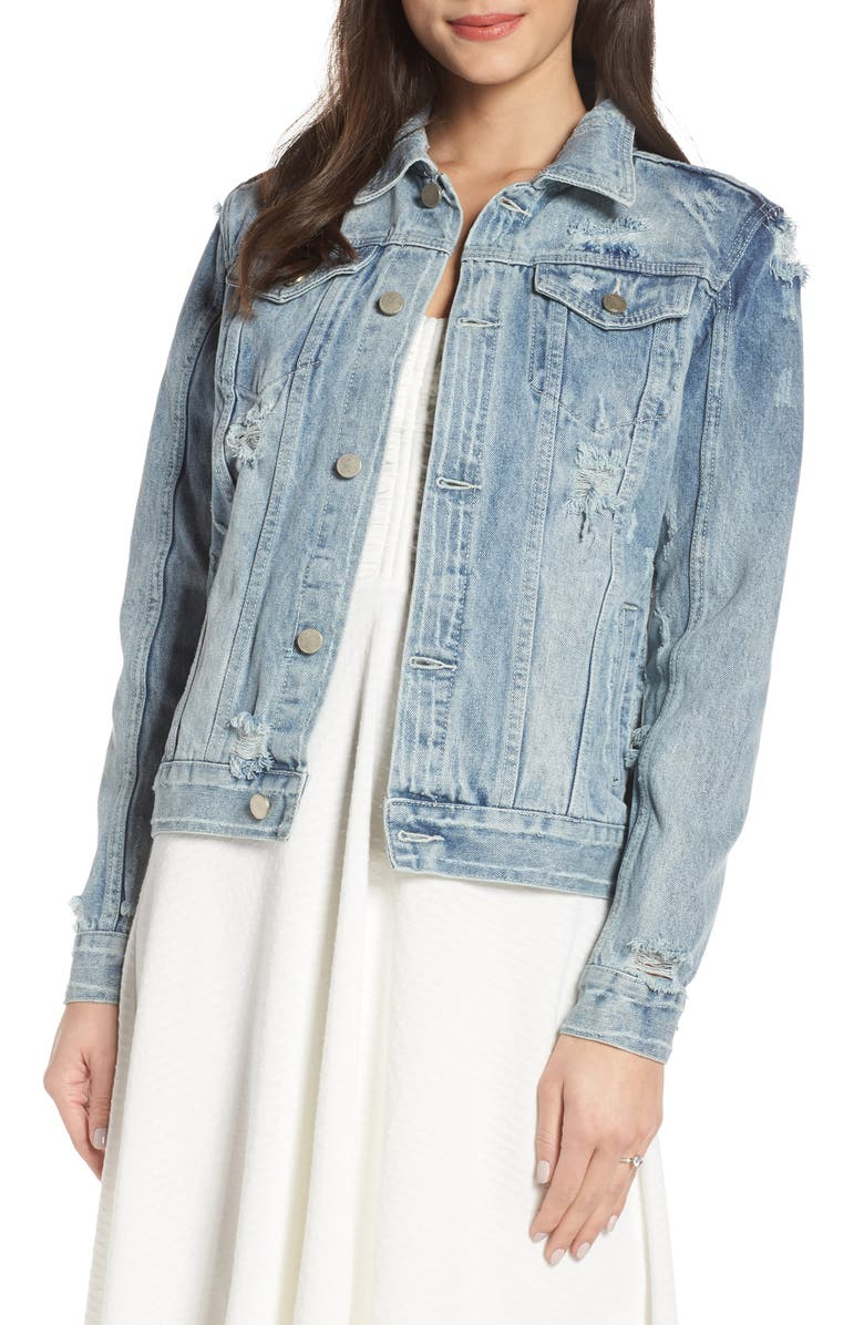 CHOSEN BY ONE DAY Wifey Embellished Denim Jacket, Main, color, DENIM