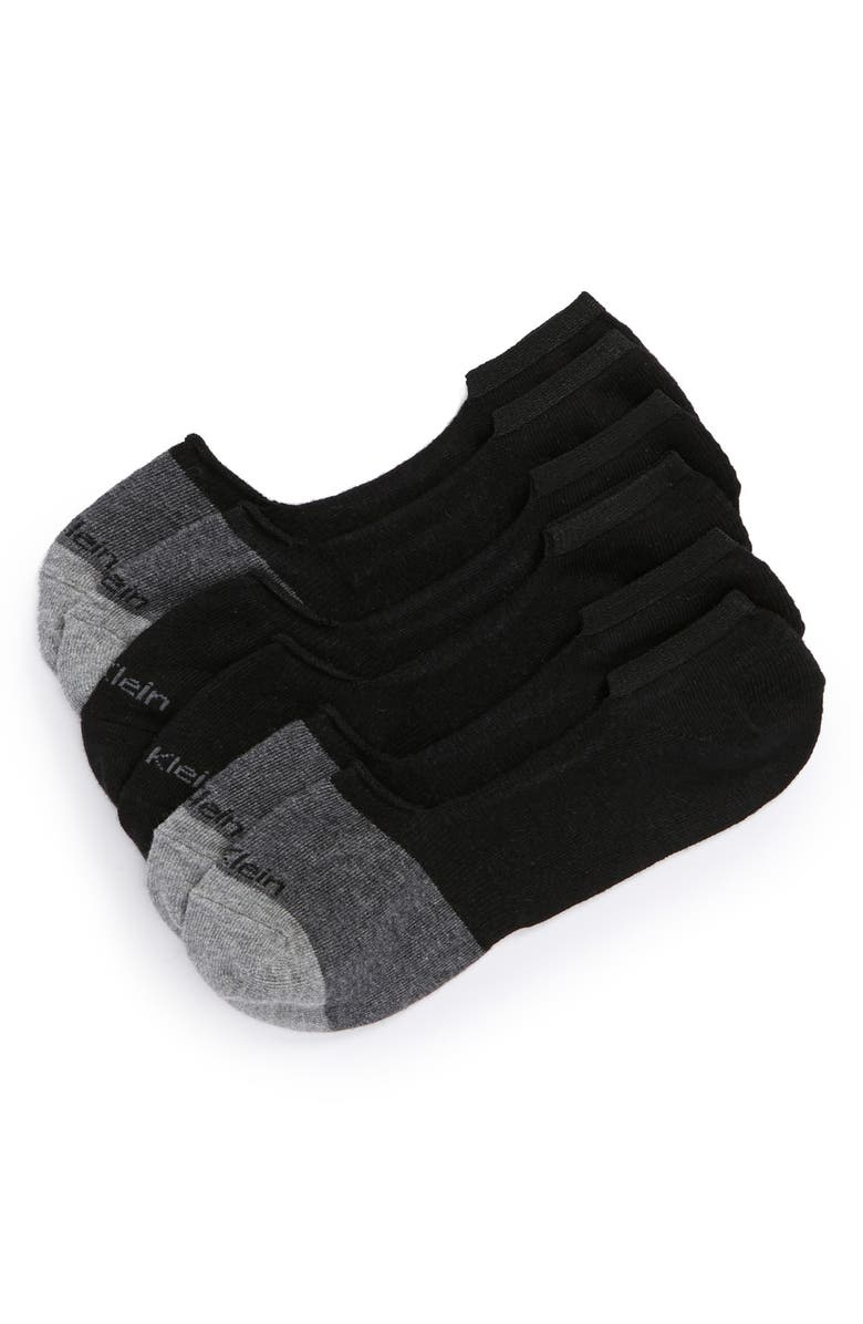 CALVIN KLEIN 3-Pack No-Show Socks, Main, color, BLACK/ CHARCOAL HEATHER