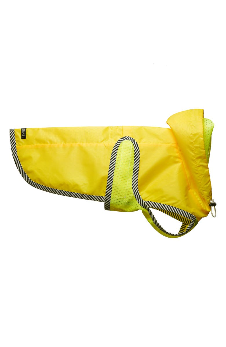 LOVETHYBEAST Neon Yellow Dog Raincoat with Mesh Lining, Main, color, 700