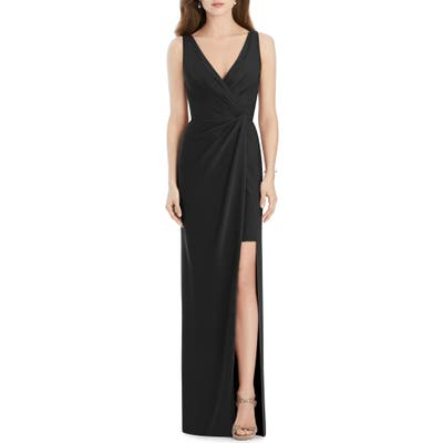 Jenny Packham Crepe Column Gown, Black