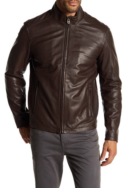 Image of Cole Haan Washed Leather Jacket