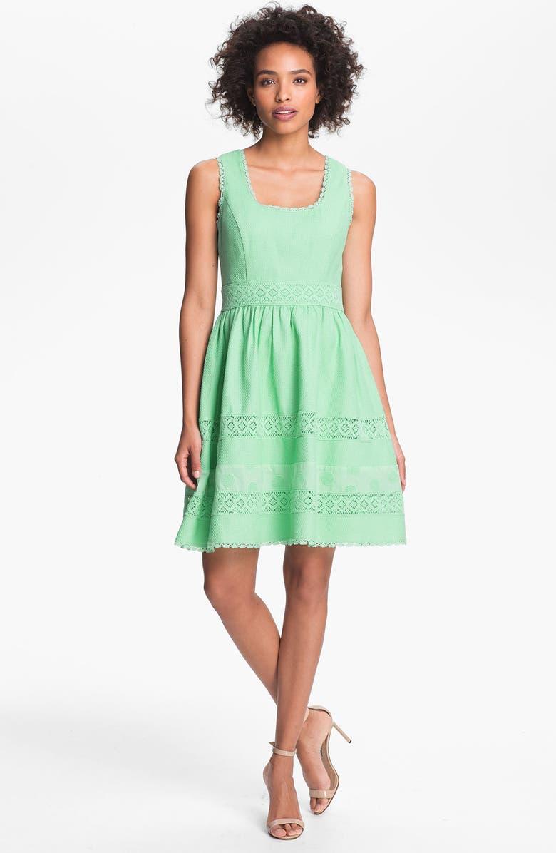 JESSICA SIMPSON Basket Weave Fit & Flare Dress, Main, color, 310