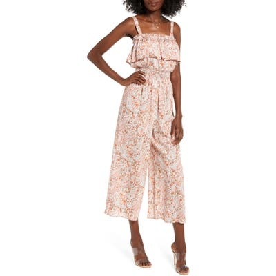 All In Favor Ruffle Detail Culotte Jumpsuit, Beige