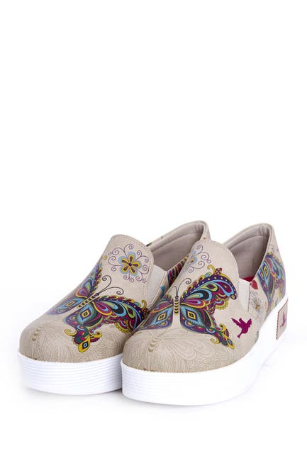 Image of Goby Butterfly Print Slip-On Platform Sneaker