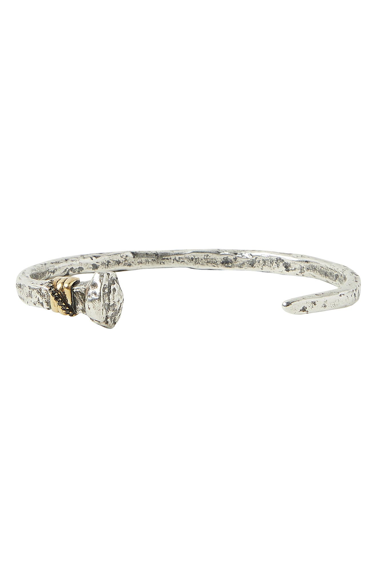 Women's John Varvatos Nails Sterling Silver & Black Diamond Cuff Bracelet