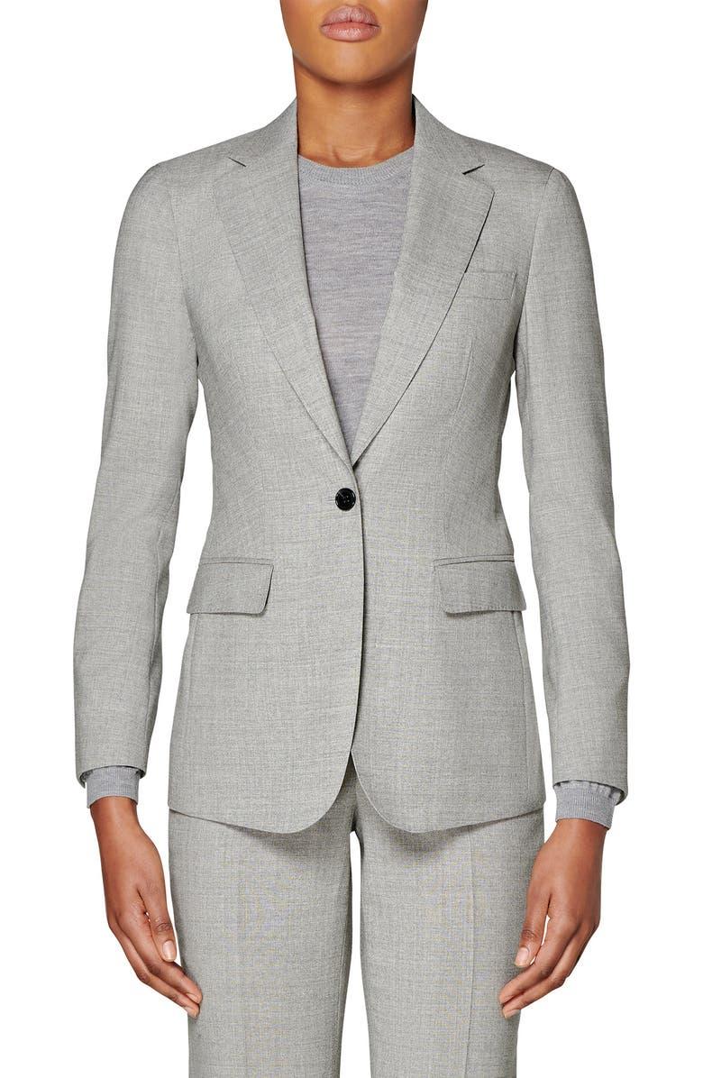 SUISTUDIO Cameron Wool Suit Jacket, Main, color, LIGHT GREY