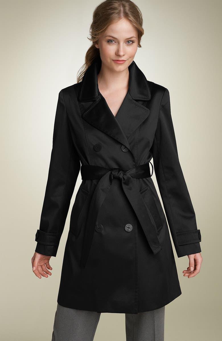 TAHARI Fit & Flare Sateen Trench Coat, Main, color, 013